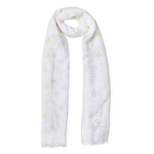 Yellow, Green, Pink and Multi Colour Fireworks Pattern White Colour Scarf (Size 180x70 Cm)