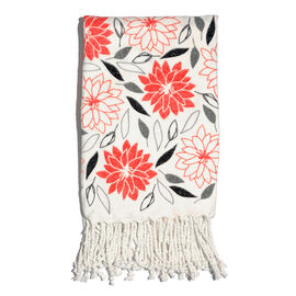 100% Cotton Flannel Red and Grey Colour Floral Pattern Throw (Size 160x120 Cm)