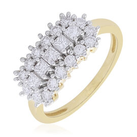 ILIANA 18K Yellow Gold 1 Carat Baguette and Round IGI Certified Diamond SI/G-H Cluster Ring