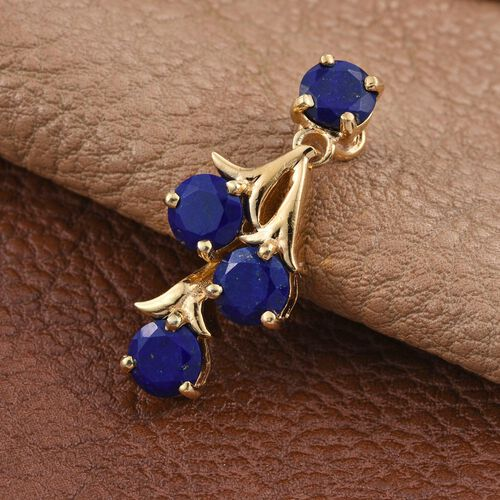 Lapis Lazuli (Rnd) Pendant in 14K Gold Overlay Sterling Silver 3.250 Ct.
