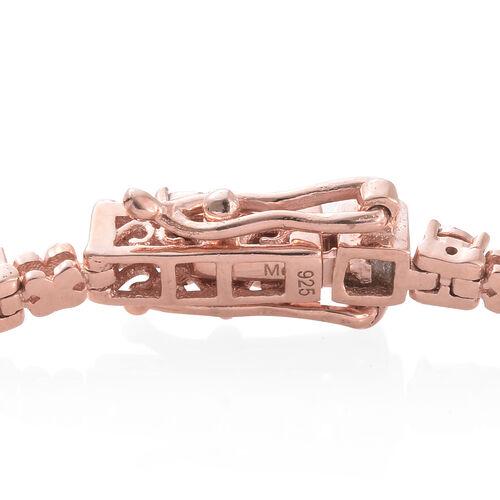 Diamond XO Bracelet in Rose Overlay Sterling Silver Size 7.5