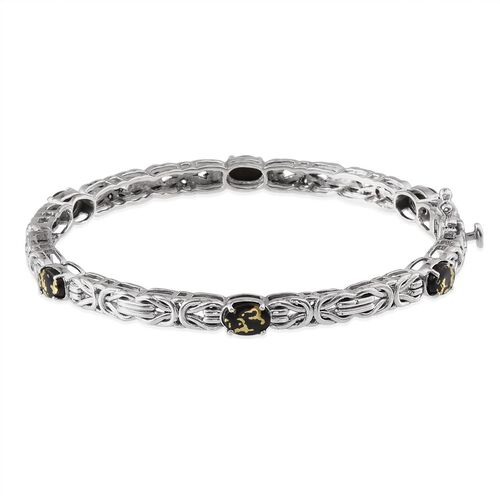 Goldenite (Ovl) Bangle in Platinum Overlay Sterling Silver (Size 7.5) 3.750 Ct.