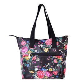 Multi Floral Pattern Black Tote Bag with External Zipper Pocket (Size 44x33x33x11 Cm)
