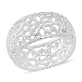 Thai Sterling Silver Floral Band Ring, Silver wt 4.49 Gms.