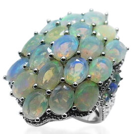 Ethiopian Welo Opal (Ovl) Cluster Ring in Rhodium Plated Sterling Silver 10.000 Ct.