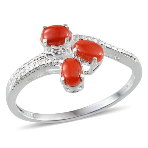 Natural Mediterranean Coral (Ovl) Trilogy Ring in Sterling Silver 0.500 Ct.