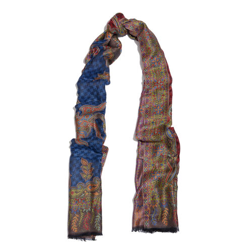 100% Modal Black, Blue, Red and Multi Colour Jacquard Scarf (Size 190x70 Cm)