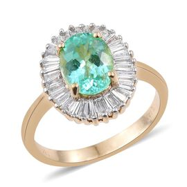 ILIANA 18K Y Gold Boyaca Colombian Emerald (Ovl 1.65 Ct), Diamond Ring 2.150 Ct.