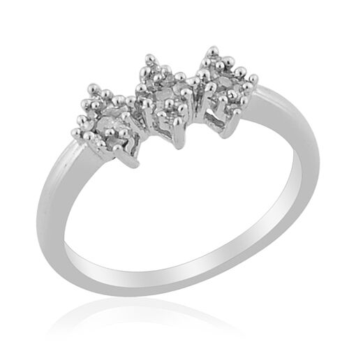 Diamond Platinum Overlay Sterling Silver Ring  0.144 Ct.
