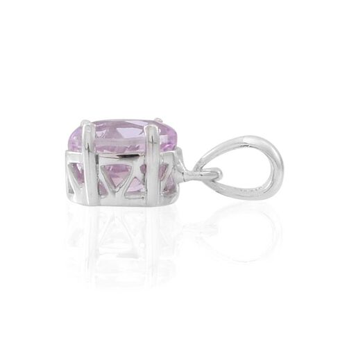AAA Urucum Kunzite (Ovl) Solitaire Pendant in Rhodium Plated Sterling Silver 2.000 Ct.