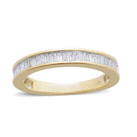 9K Y Gold SGL Certified Diamond (Bgt) (I3/G-H) Half Eternity Band Ring 0.500 Ct.