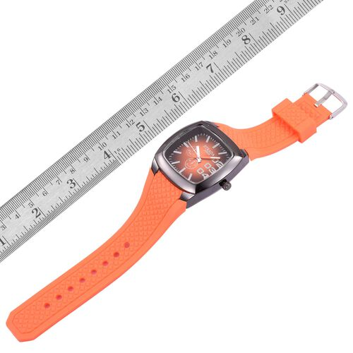 STRADA Japanese Movement Orange Colour Sunshine Pattern Dial Water Resistant Watch in Black Tone with Stainless Steel Back and Orange Silicone Strap