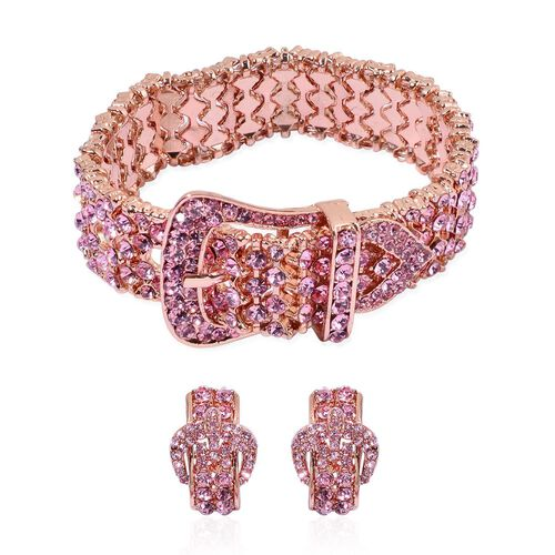 AAA Pink Austrian Crystal Buckle Bracelet (Size 8) and Buckle Stud Earrings in Rose Gold Tone