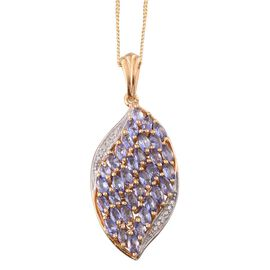 Tanzanite (Mrq), Diamond Cluster Pendant With Chain in 14K Gold Overlay Sterling Silver 2.510 Ct.