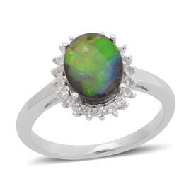 Canadian Ammolite (Ovl 1.50 Ct), White Zircon Ring in Rhodium Plated Sterling Silver 1.650 Ct.
