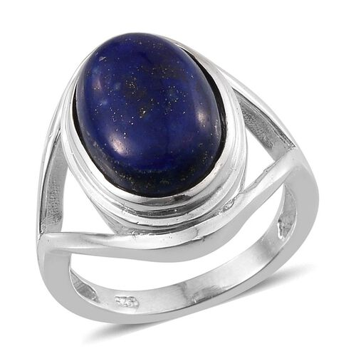 Lapis Lazuli (Ovl) Solitaire Ring in Sterling Silver 6.000 Ct.
