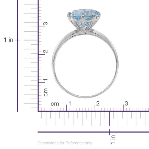 Sky Blue Topaz (Rnd) Solitaire Ring in Rhodium Plated Sterling Silver 3.500 Ct.