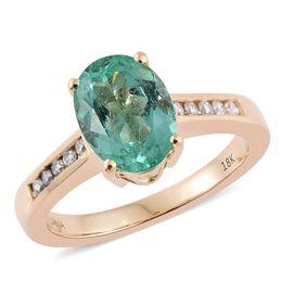 ILIANA 18K Yellow Gold 2.31 Carat Boyaca Colombian Emerald Ring With Diamond SI G-H