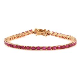 African Ruby (Ovl) Tennis Bracelet (Size 7.5) in 14K Gold Overlay Sterling Silver 10.250 Ct.