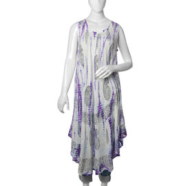 Purple and White Colour Paisley Printed Tunic (Free Size)
