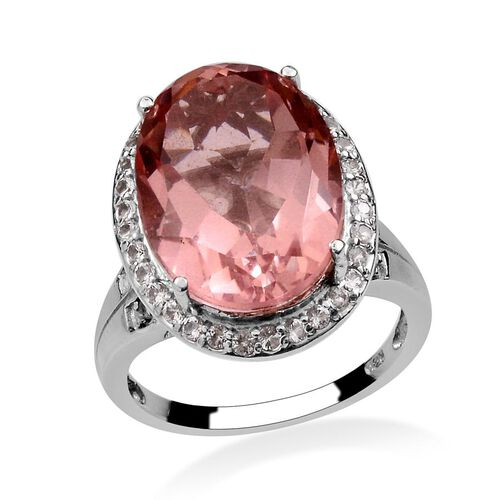 Morganite Colour Quartz (Ovl 12.75 Ct), White Topaz Ring in Platinum Overlay Sterling Silver 13.410 Ct.