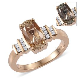 One Off ILIANA 18K Y Gold Rare Turkizite and Diamond Ring 3.250 Ct.