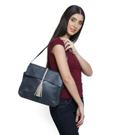 Genuine Leather Dark Blue Colour Shoulder Bag with Shoulder Strap (Size 30x26x6 Cm)
