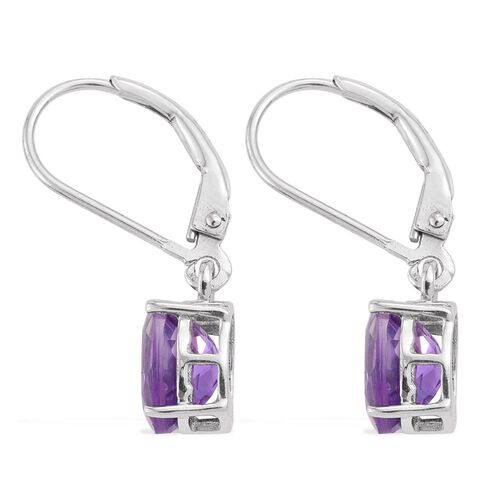 Moroccan Amethyst (Ovl) Lever Back Earrings in Platinum Overlay Sterling Silver 2.000 Ct.