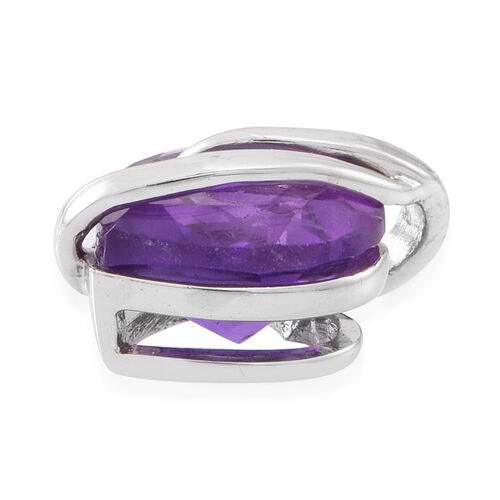 Amethyst (Hrt) Solitaire Pendant in Rhodium Plated Sterling Silver 2.750 Ct.