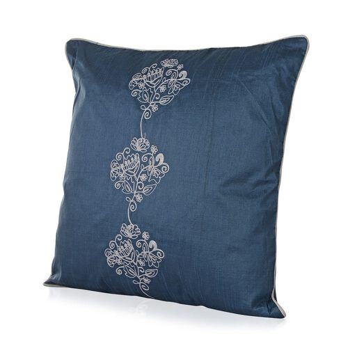 Flower and Leaves Embroidered Blue Colour Cushion (Size 43x43 Cm)