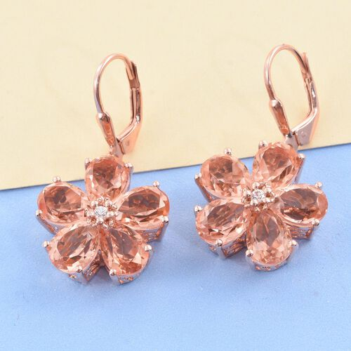 Galileia Blush Pink Quartz (Pear), Natural Cambodian Zircon Floral Lever Back Earrings in Rose Gold Overlay Sterling Silver 13.750 Ct.