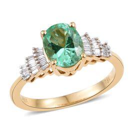 ILIANA 18K Y Gold Boyaca Colombian Emerald (Ovl 1.25 Ct), Diamond (SI/G-H) Ring 1.400 Ct.