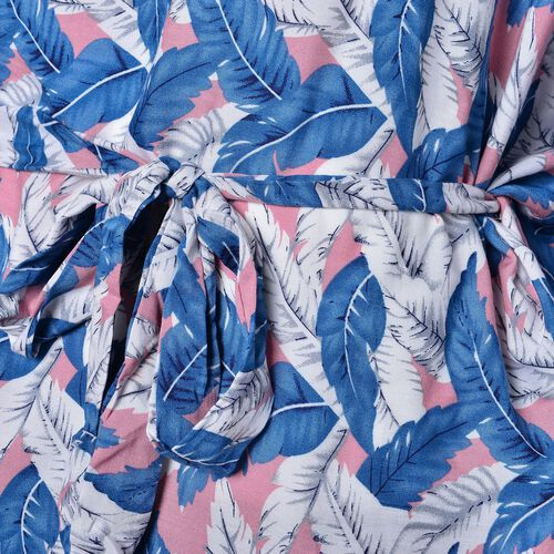 One Time Deal-Blue, White and Pink Colour Leaves Pattern Apparel with Adjustable Waistband (Size 70X60 Cm)