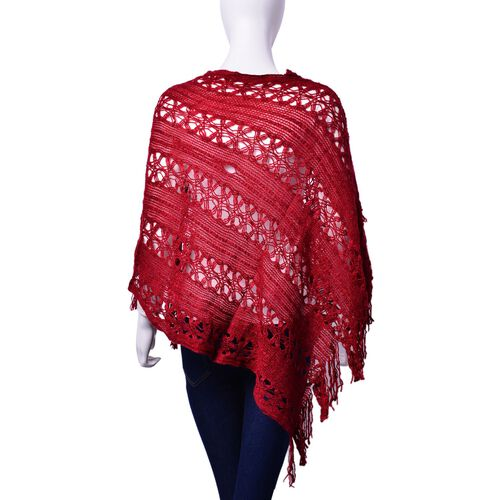 Burgundy Colour Poncho with Tassel (Size 50 Cm)