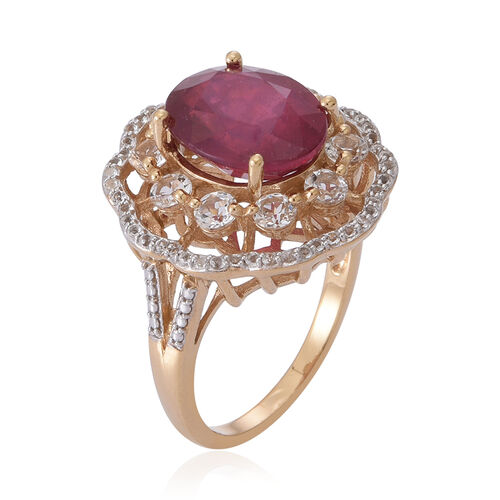 African Ruby (Ovl 6.60 Ct), White Topaz Ring in 14K Gold Overlay Sterling Silver 8.500 Ct.