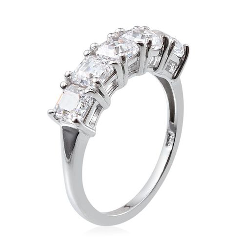 J Francis - Platinum Overlay Sterling Silver (Asscher Cut) 5 Stone Ring Made with SWAROVSKI ZIRCONIA 2.500 Ct.