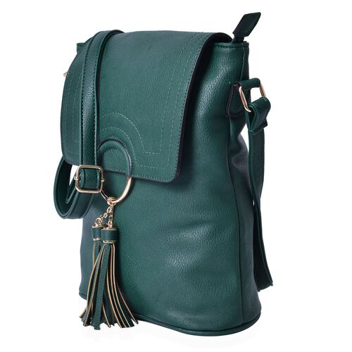 Dark Green Colour Bag with Tassels and Adjustable Shoulder Strap (Size 29x26x10 Cm)