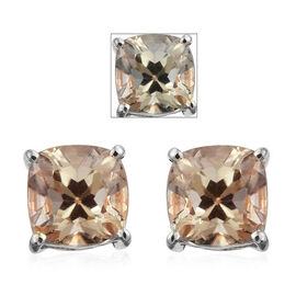 ILIANA 18K Y Gold AAA Natural Turkizite (Cush) Stud Earring (with Screw Back) 3.750 Ct.