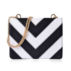 Black and White Colour V Pattern Crossbody Bag with Chain Strap (Size 24x19x5.5 Cm)