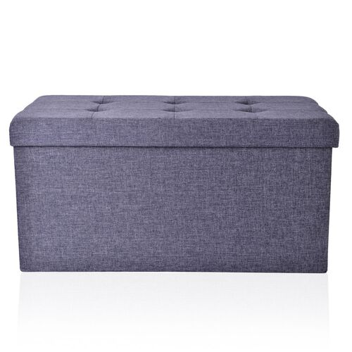 Grey Colour Linen Foldable Large Storage Ottoman with Padded Seat (Size 75x38x38 Cm)
