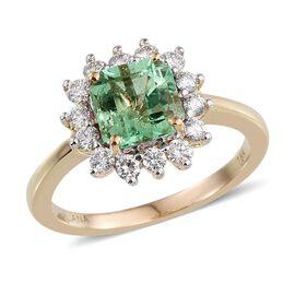 ILIANA 18K Y Gold Boyaca Colombian Emerald (Oct 1.75 Ct), Diamond Ring 2.000 Ct.