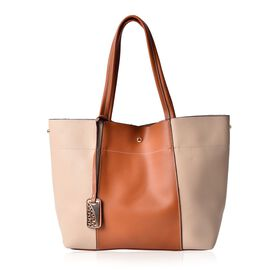 Chocolate and Beige Colour Tote Bag (Size 45x30x15 Cm)