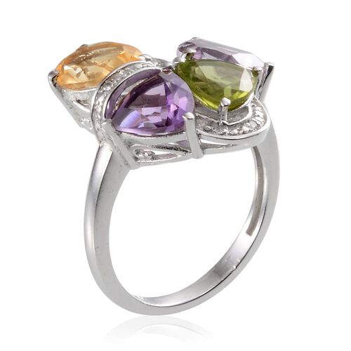Citrine, Rose De France Amethyst, Hebei Peridot, Amethyst and Diamond Ring in Platinum Overlay Sterling Silver 4.510 Ct.