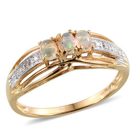 Ethiopian Welo Opal (Ovl), Diamond Ring in 14K Gold Overlay Sterling Silver