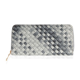 Black And White Colour Weave Pattern Wallet (Size 20x10x2.5 Cm)