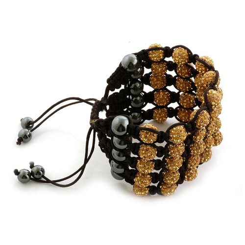 Golden Austrian Crystal and Hematite 5 Row Bracelet (Adjustable) 31.000 Ct.
