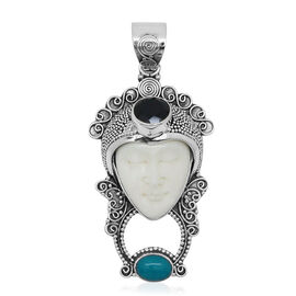 Princess Bali Collection OX Bone Carved Face (Ovl 7.19 Ct), Boi Ploi Black Spinel and Arizona Sleeping Beauty Turquoise Pendant in Sterling Silver 9.510 Ct.
