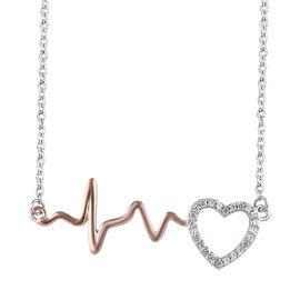 J Francis - Rose Gold and Platinum Overlay Sterling Silver (Rnd) Pulsing Heart Necklace (Size 18) Made with SWAROVSKI ZIRCONIA