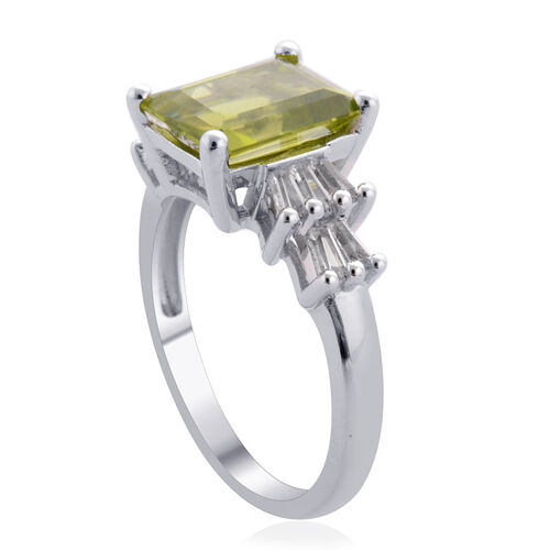Hebei Peridot (Oct 3.50 Ct), White Topaz Ring in Platinum Overlay Sterling Silver 3.830 Ct.