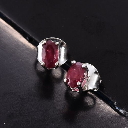 African Ruby 0.50 ct. Solitaire Silver Stud Earrings with Push Back in Platinum Overlay